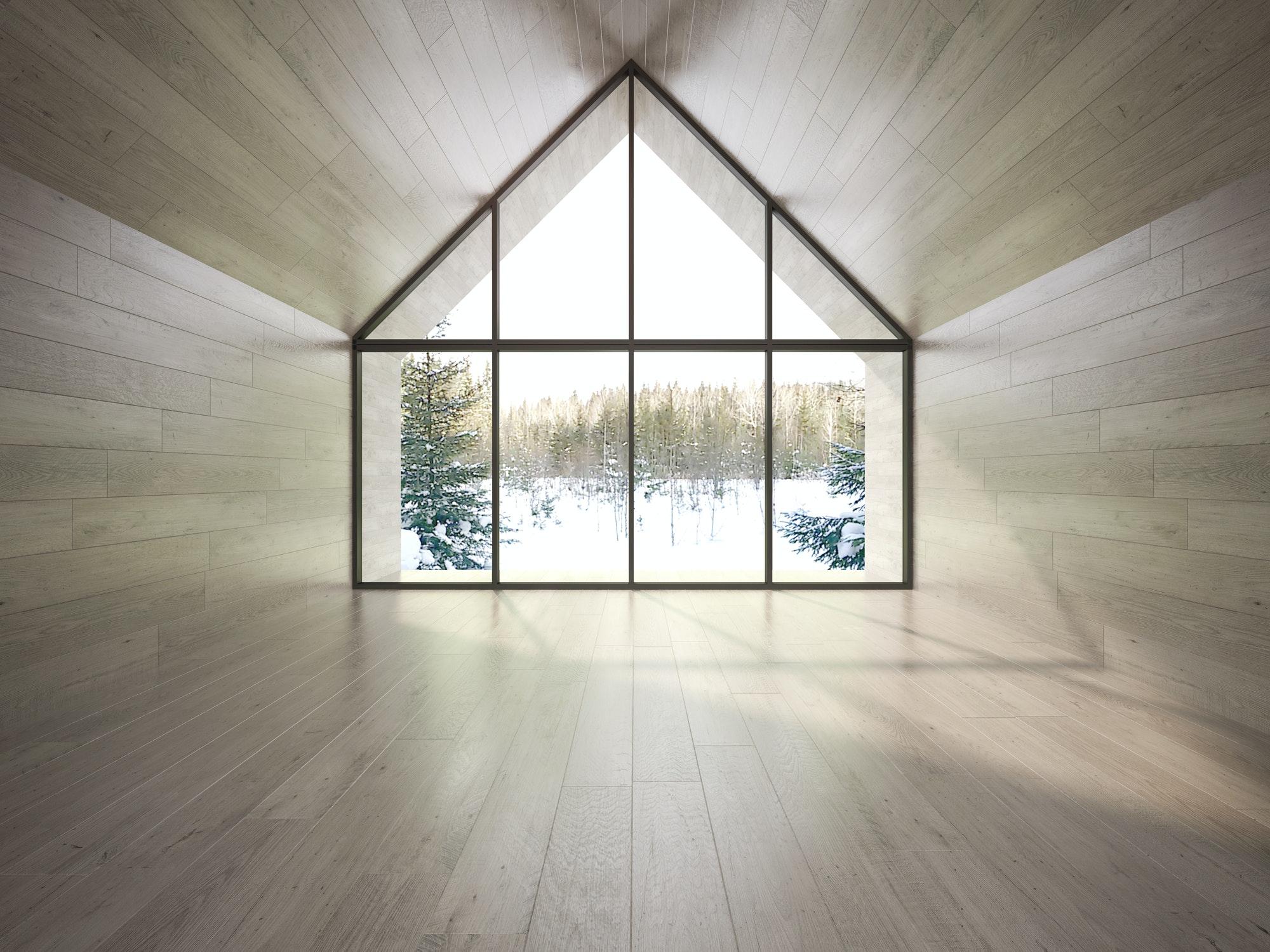 empty living room 3D rendering